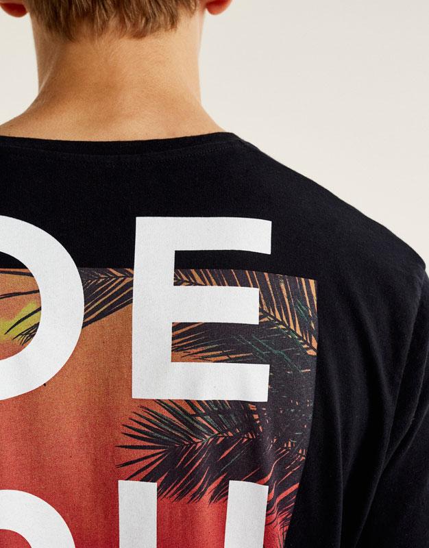 Shirt mit Brusttasche und tropischem Print