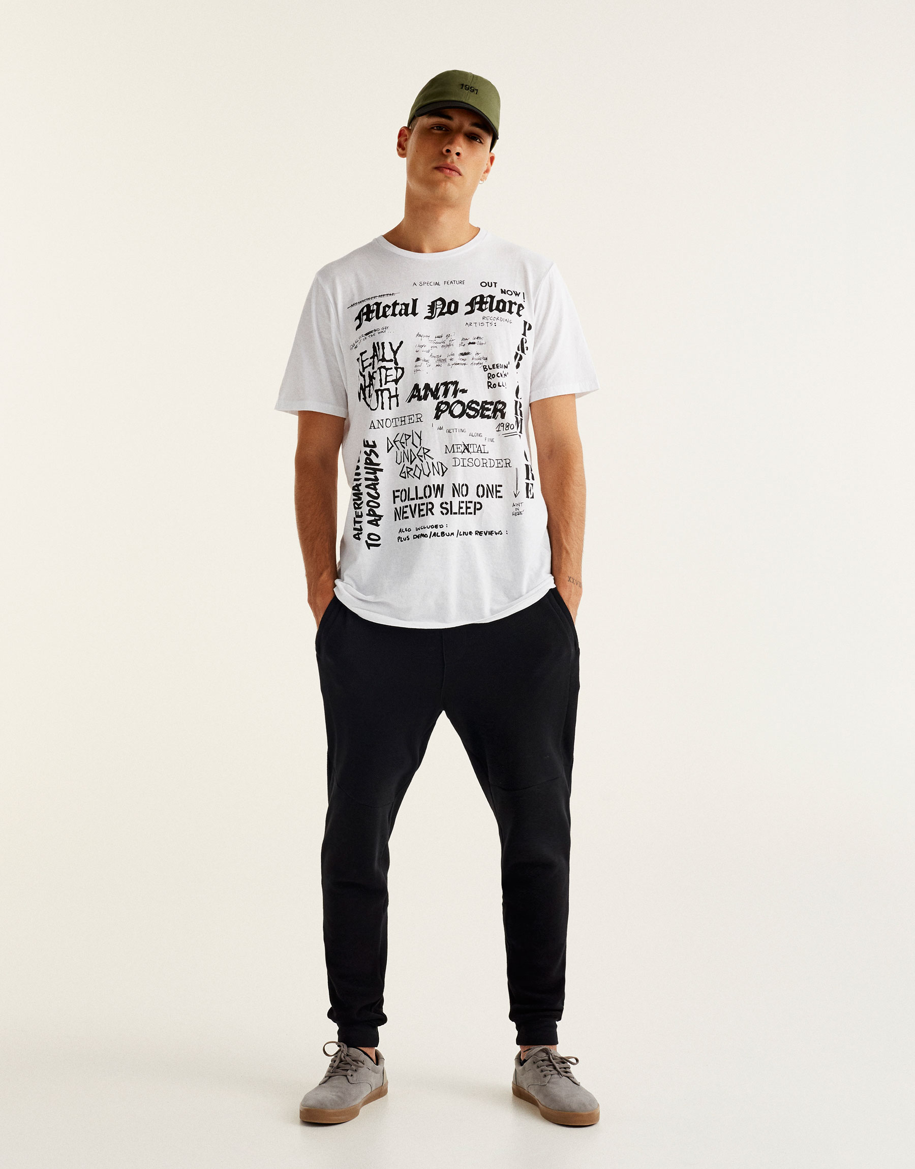 T-shirt with all over slogan print