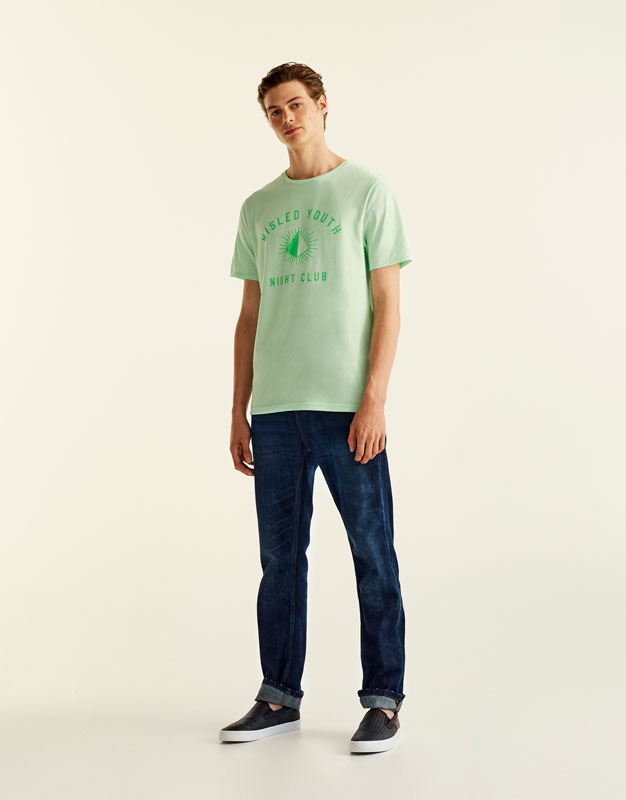 Neon T-shirt with printed slogan