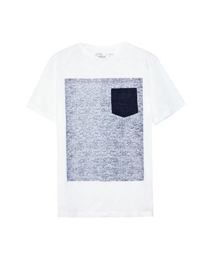 Camiseta gráfico bolsillo contraste
