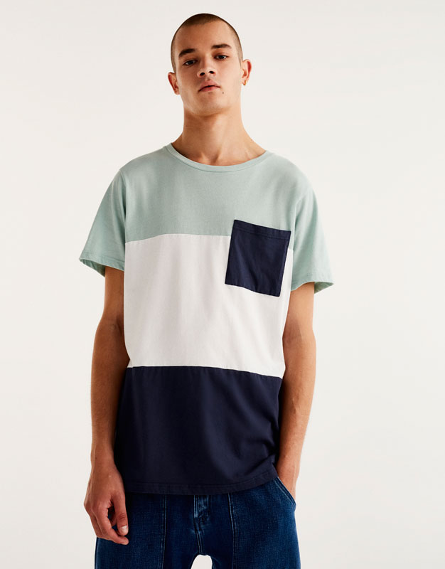 Panels T-shirt with contrasting pocket