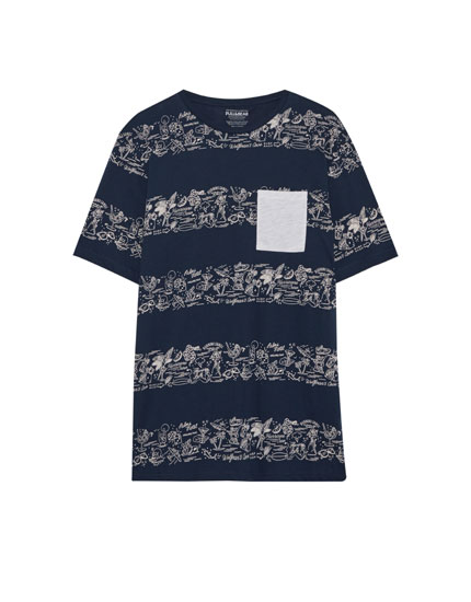 Striped T-shirt with contrasting pocket