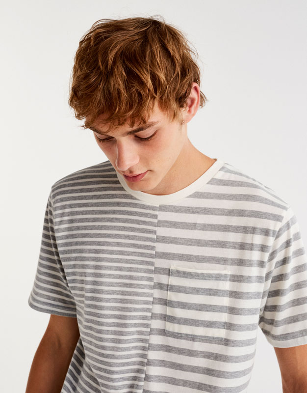 Striped green T-shirt with central seam