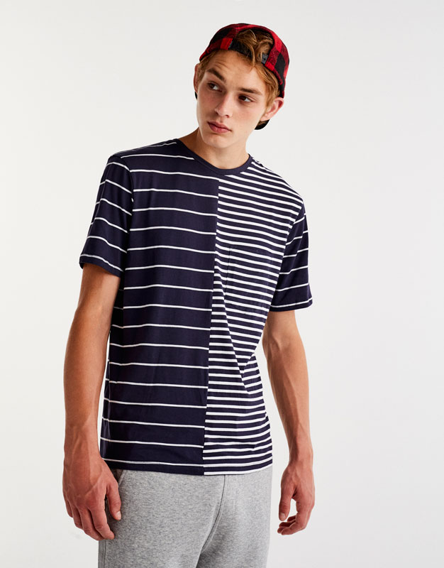 Striped blue T-shirt with central seam