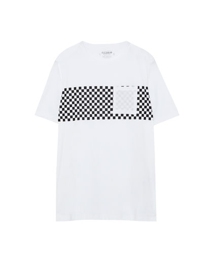T-shirt with racing checks panel