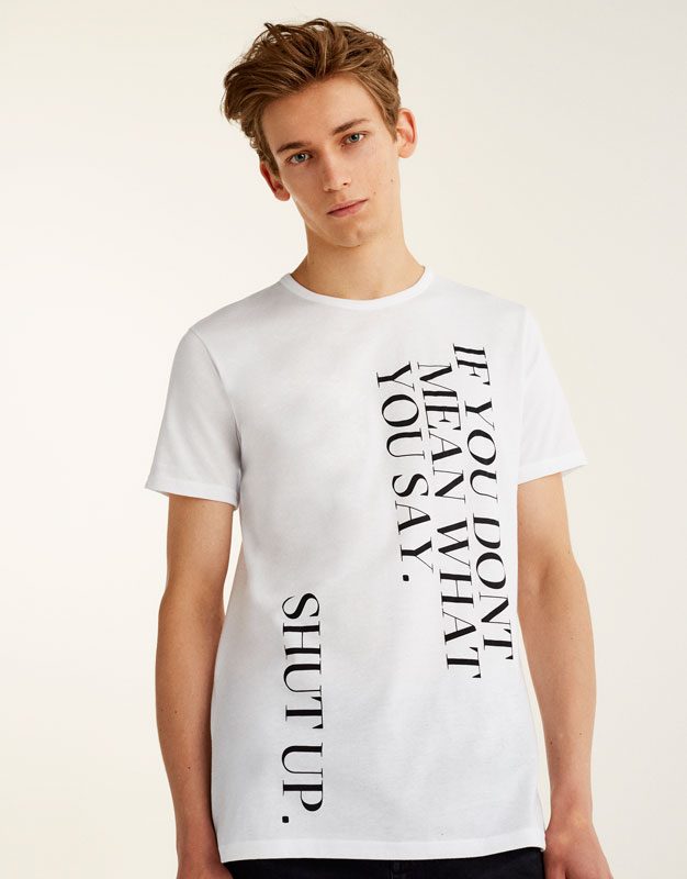 T-shirt with vertical slogan