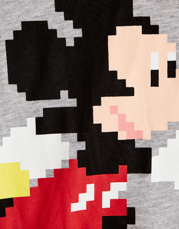T-shirt with pixelated Mickey print