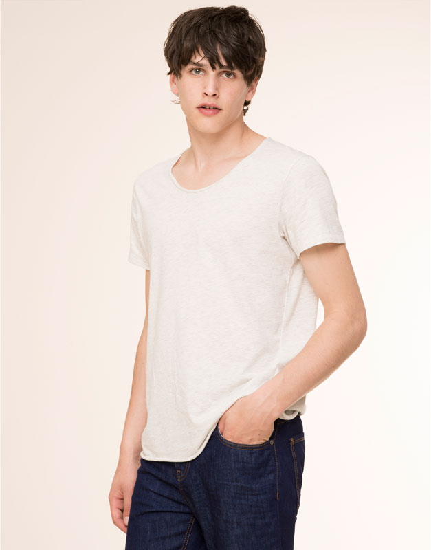 Slim fit T-shirt with piped seams