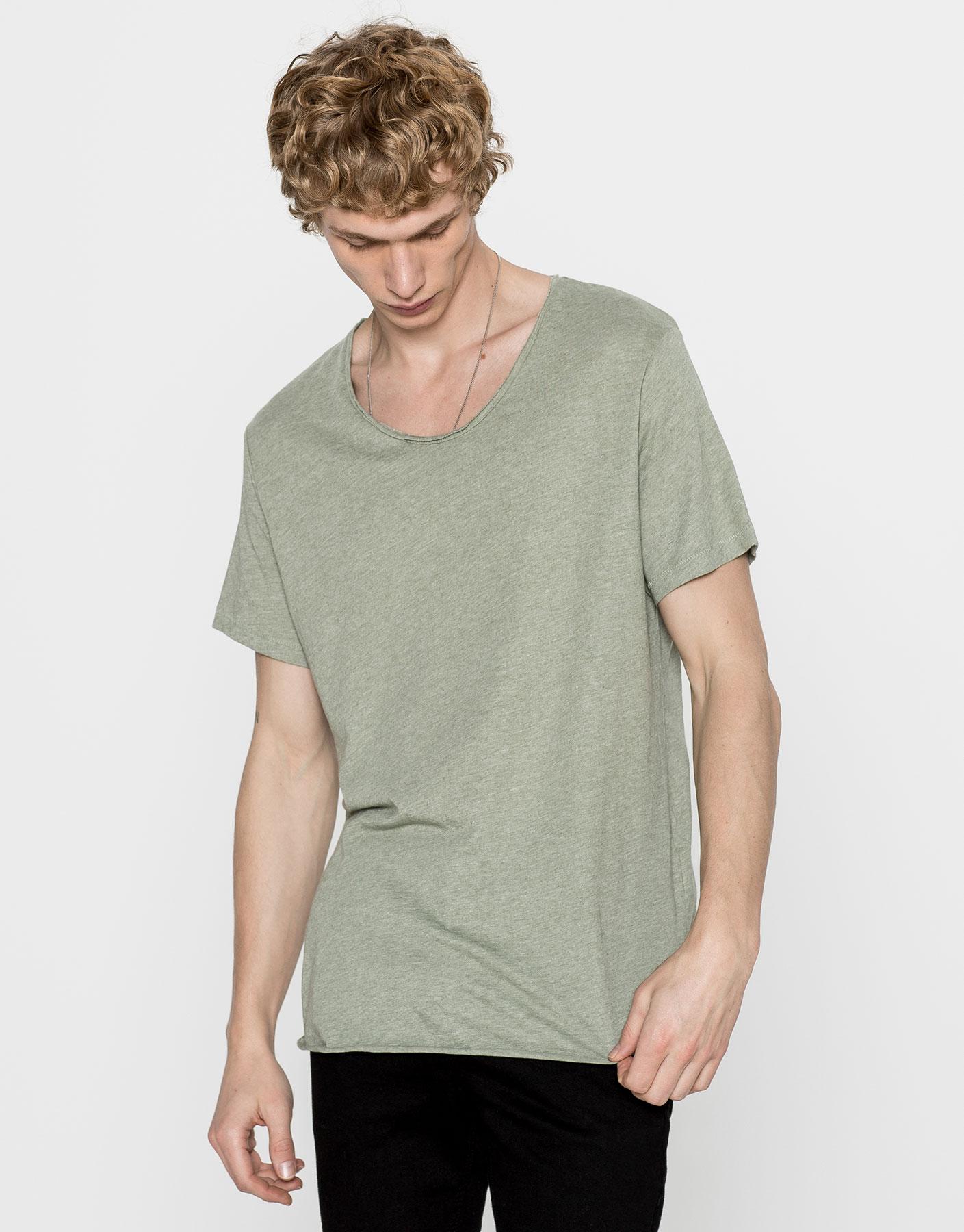 Camiseta antracita manga caída