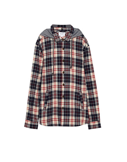 Checked flannel shirt with hood
