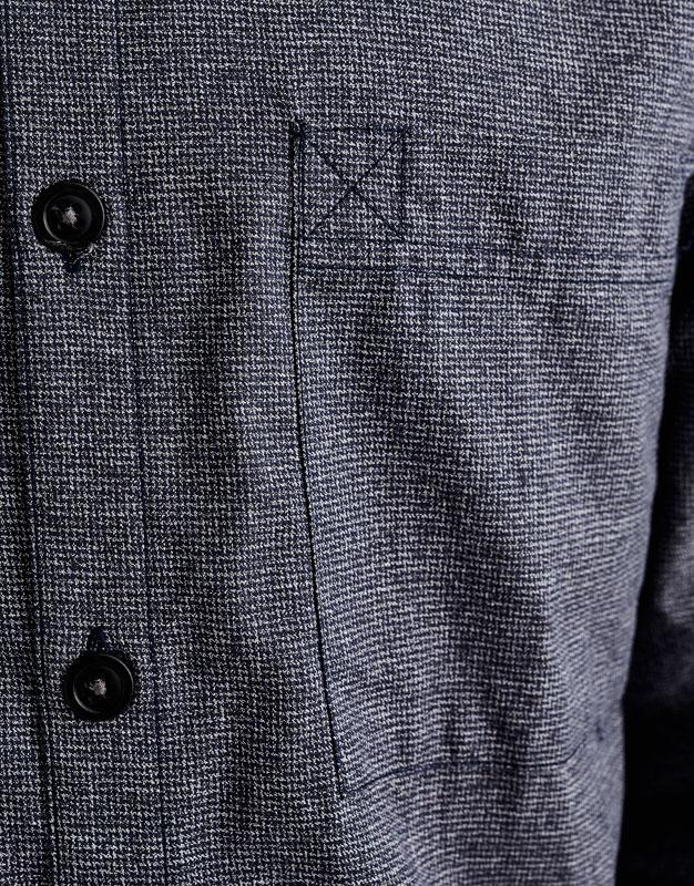 Textured weave shirt with mandarin collar