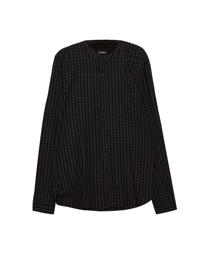 Mandarin collar gingham shirt