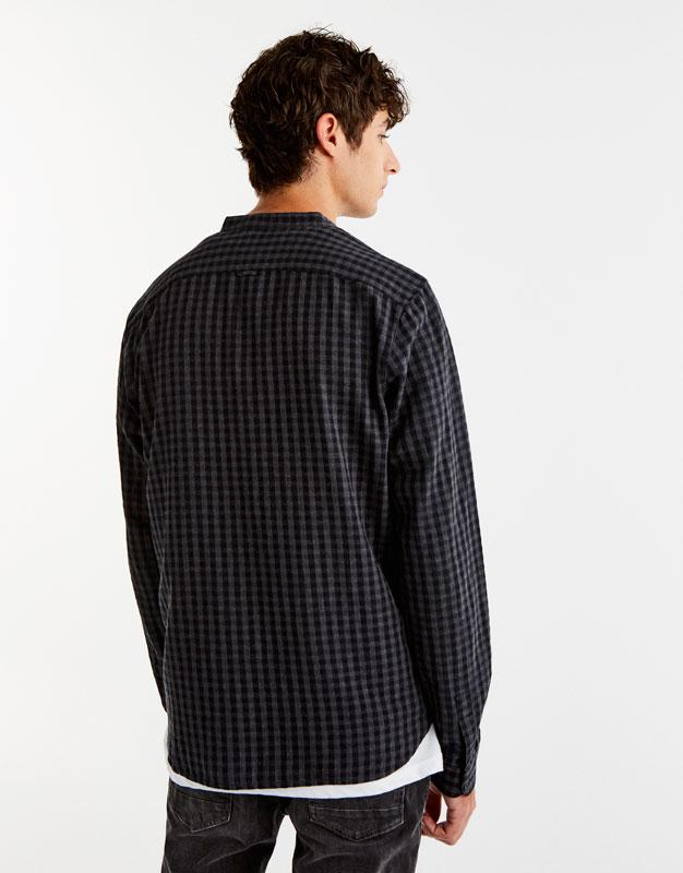 Mandarin collar gingham shirt