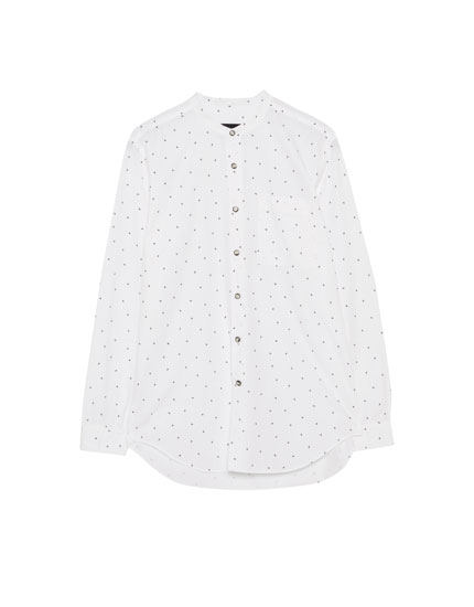 Printed shirt with mandarin collar