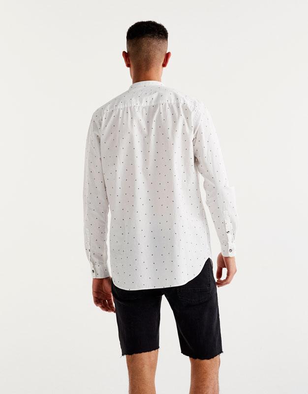 Printed shirt with mandarin collar