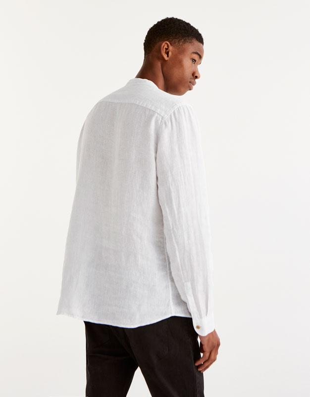 Linen shirt with mandarin collar