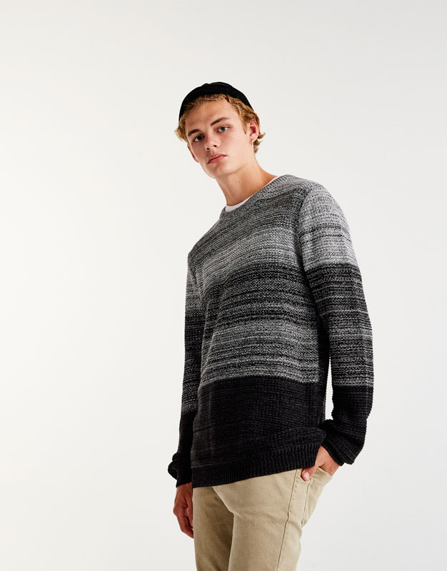 Sweater with black panels