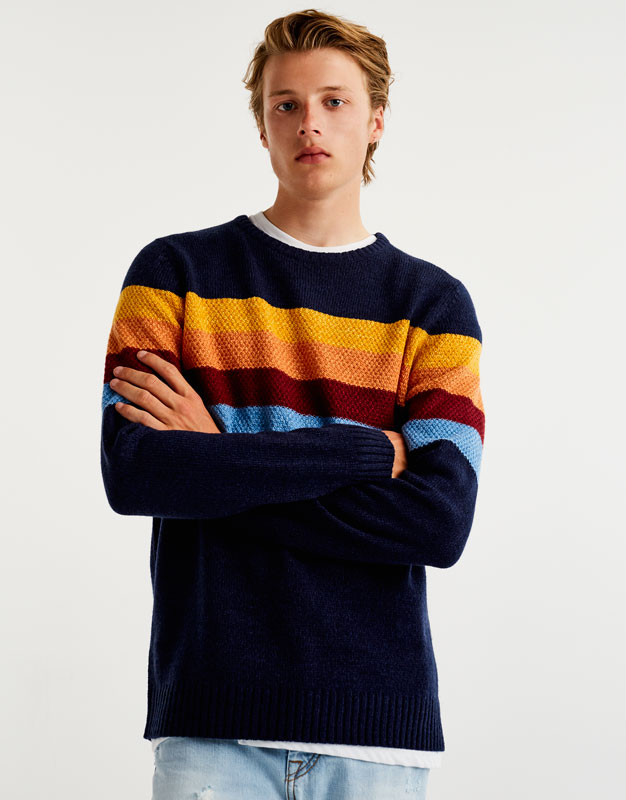 Sweater with colourful panels