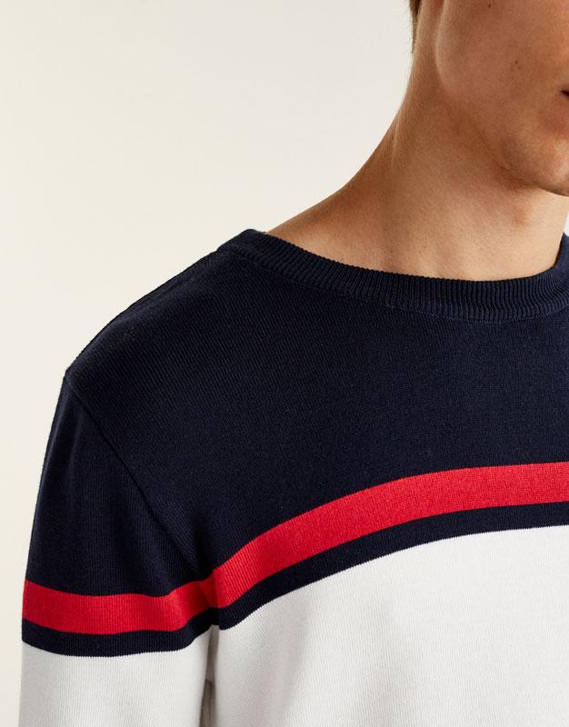 Pullover mit Colour-Block und Streifen