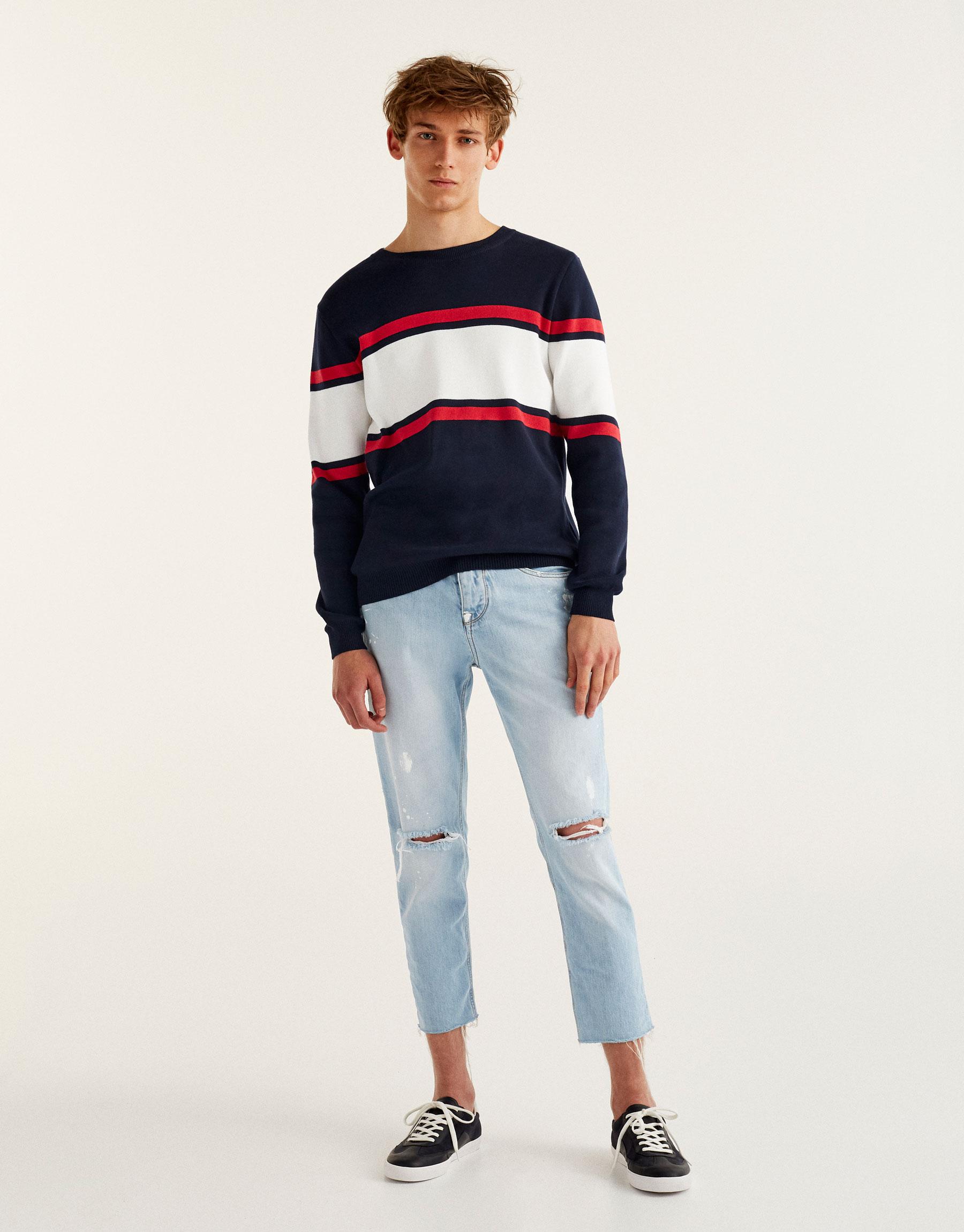 Striped colour block sweater