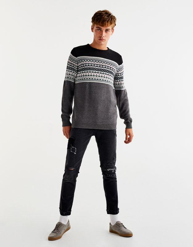 Earth brown jacquard sweater