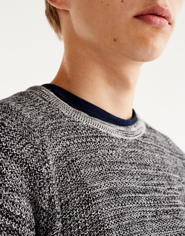 Round neck flecked sweater
