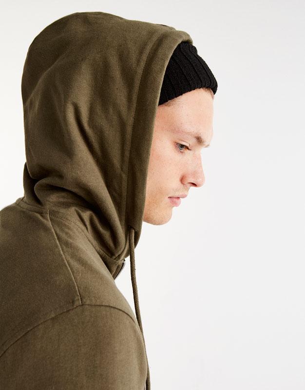 Sudadera capucha media cremallera
