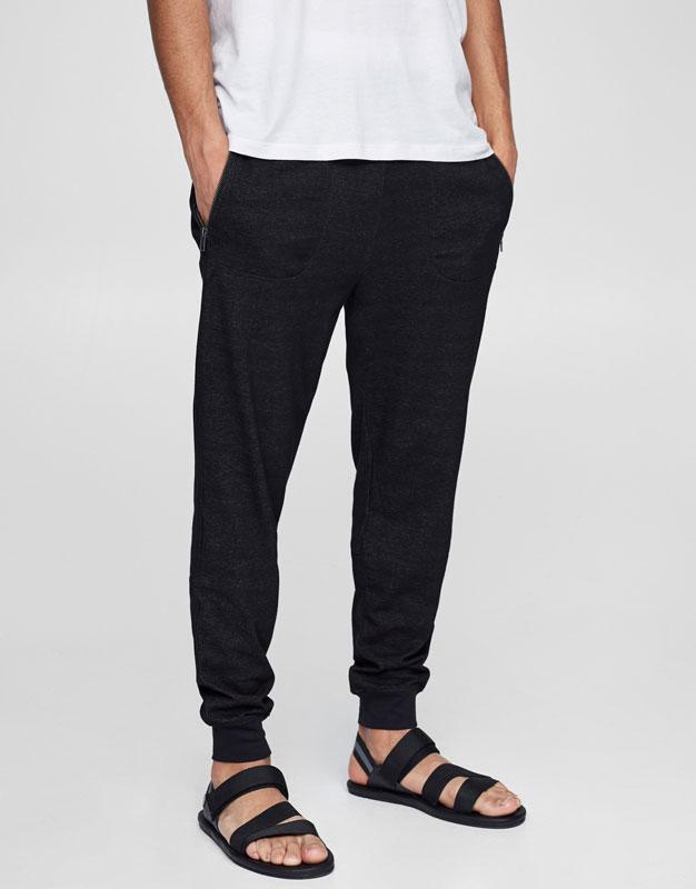 Zipped jogging trousers