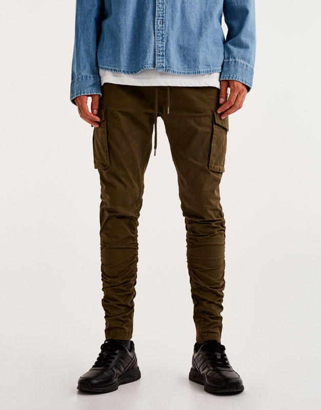 Cargo-style trousers with gathered legs