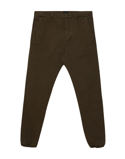 Chino trousers with cuffed hem