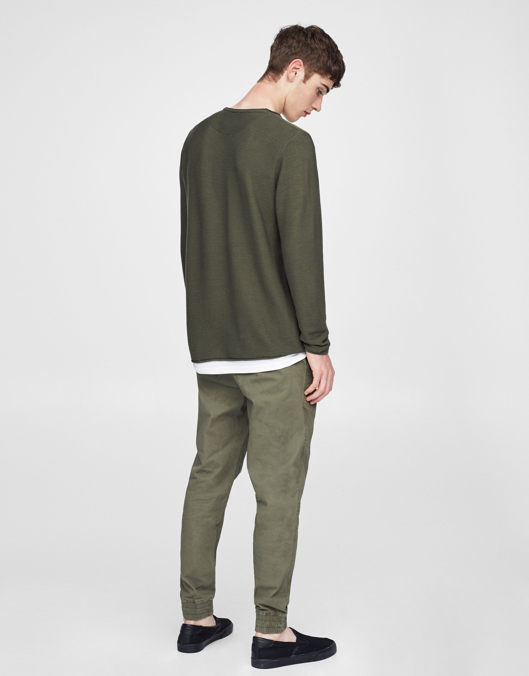 Chino trousers with elastic hems