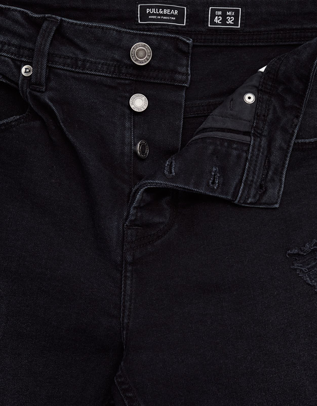 Slim fit premium ripped jeans with frayed hem
