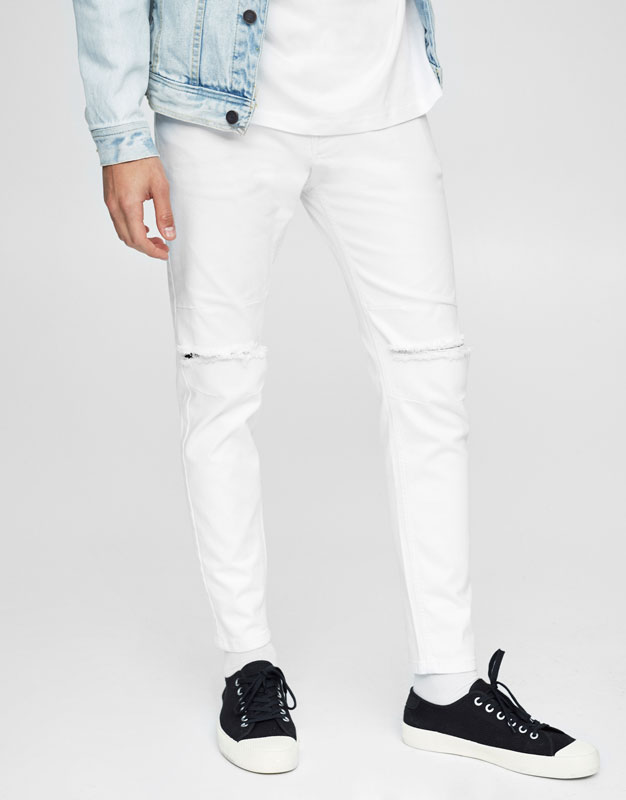 Jeans carrot fit blancos