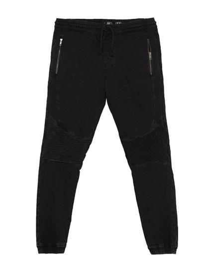 Jogging fit biker jeans