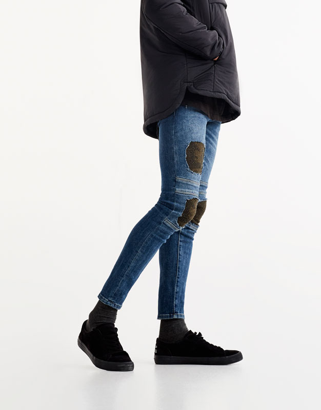Jeans superskinny fit biker parches