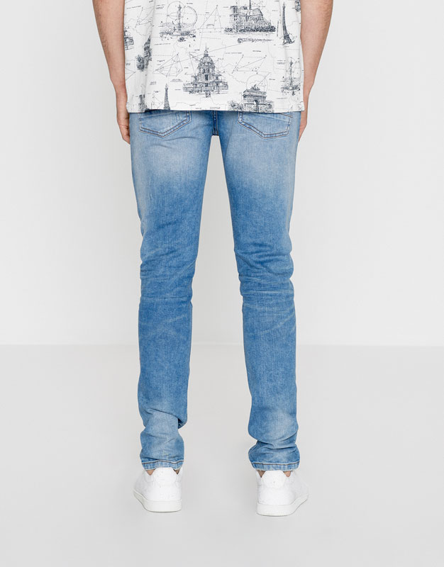 Skinny fit faded jeans