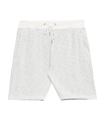 White Bermuda jogging shorts with zips