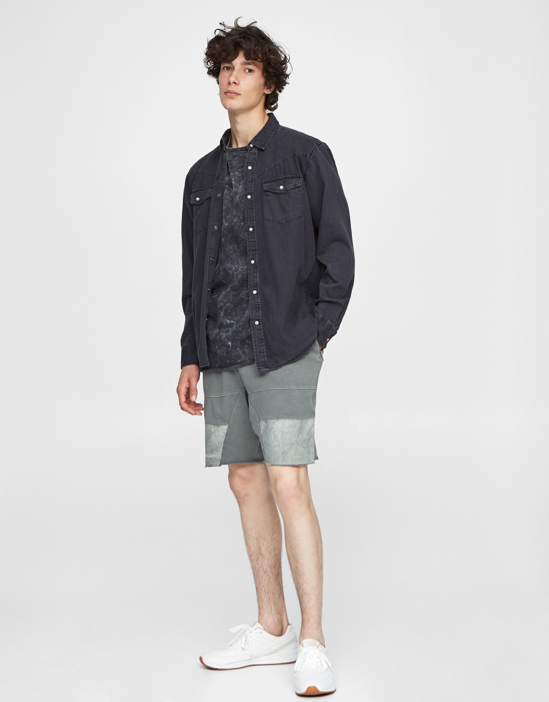 Faded grey jogging Bermuda shorts