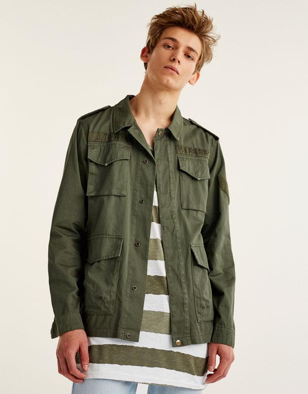 Long fit safari jacket with pockets