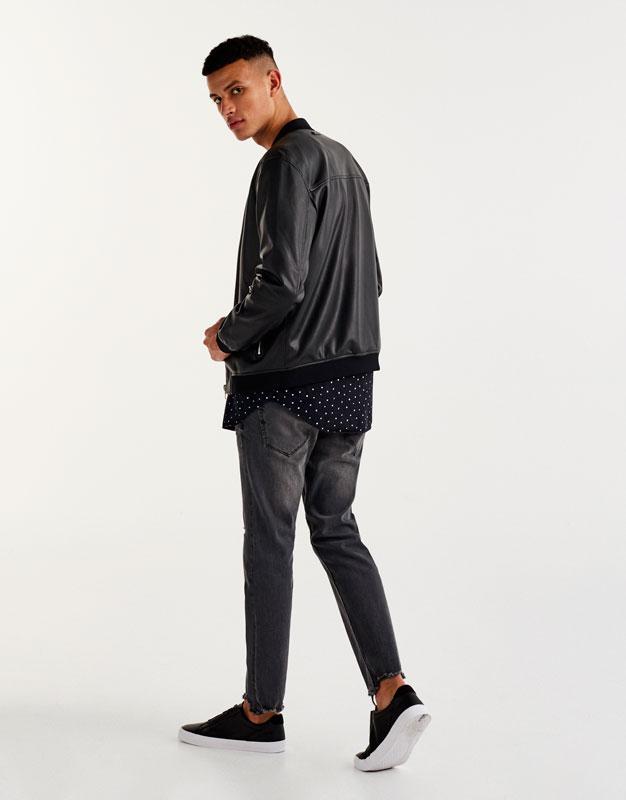 Basic faux leather bomber jacket