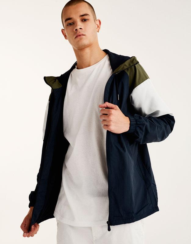 Colour block quilted raincoat