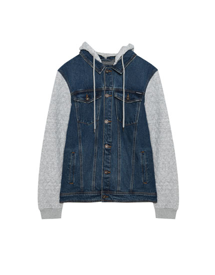 Denim jacket with contrasting hood
