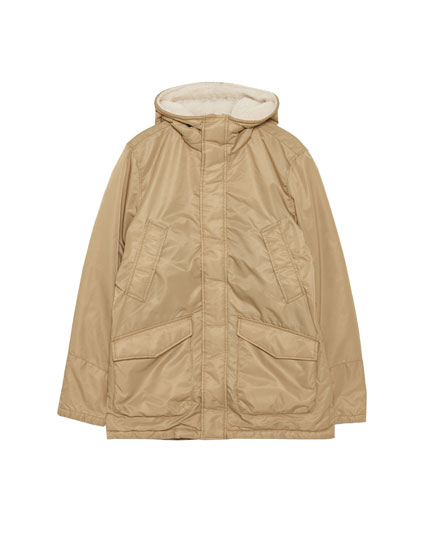 Short parka with faux shearling hood