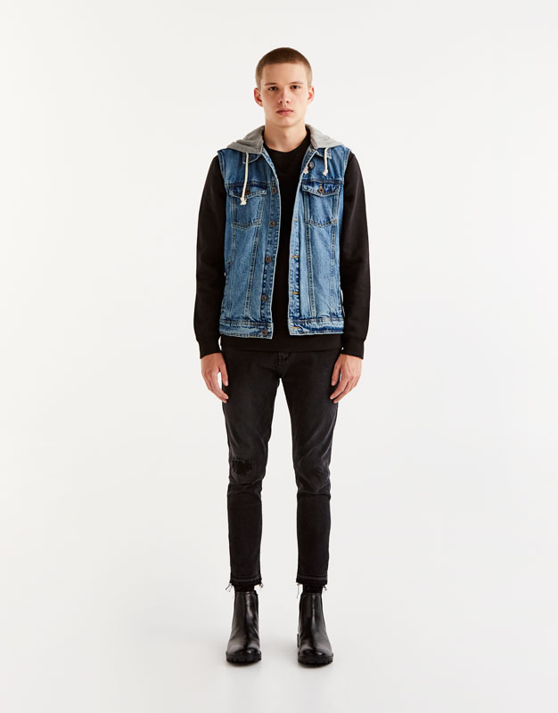 Hooded denim vest with pins