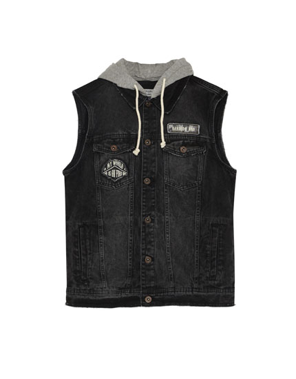 Denim waistcoat with patches