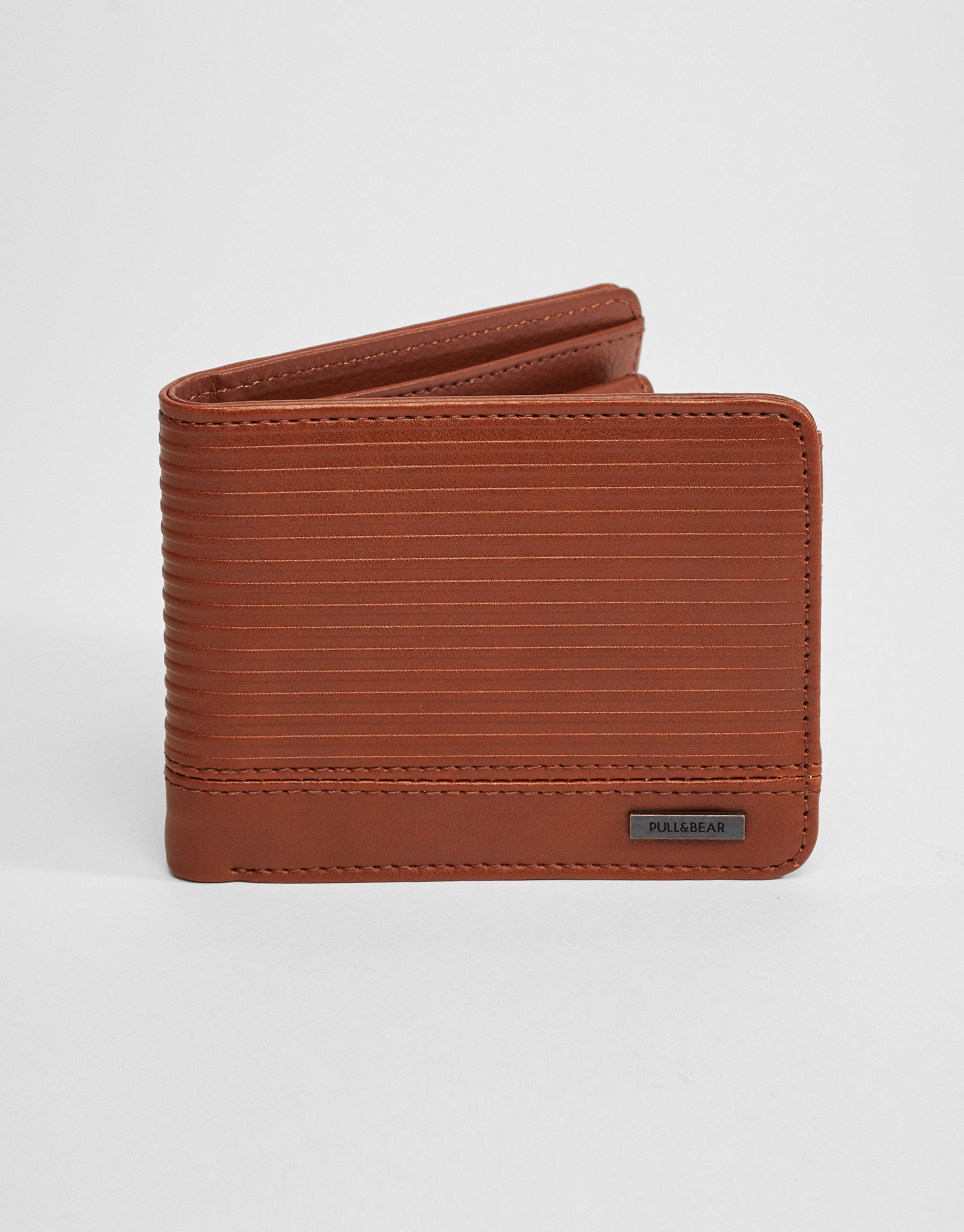 Brown wallet with horizontal stripes