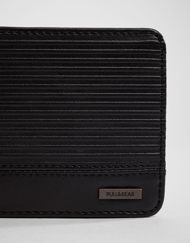 Black wallet with horizontal stripes
