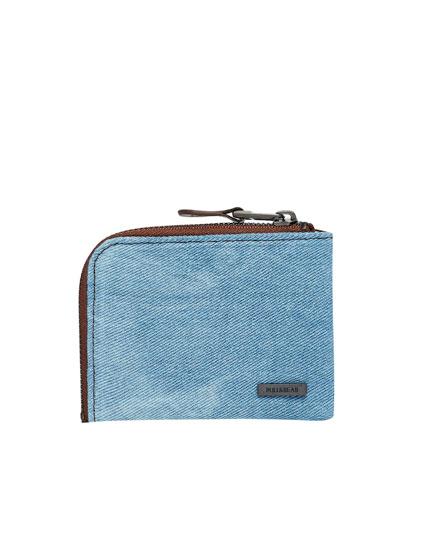 Denim wallet with zip