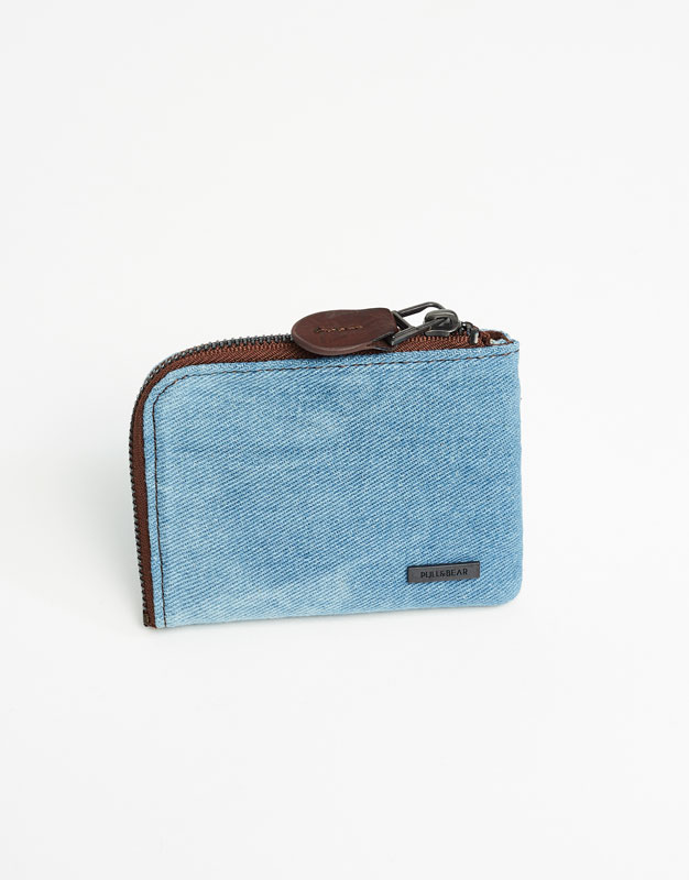 Denim wallet with zip