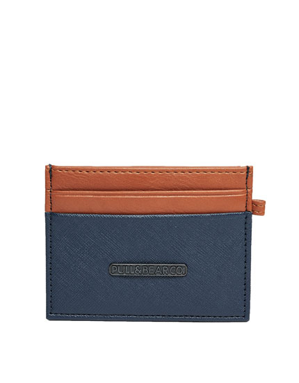 Navy blue and brown wallet